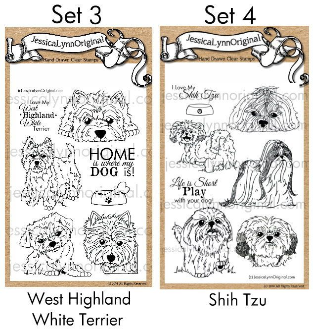 $25 PRE-ORDER the #Westies and #ShihTzu Dog stamps on our KickStarter Project. You can see the full sets below! At the end of the kickstarter you will get an email asking which doggy set you want!! What do you think of the first of these sets? https://www.kickstarter.com/projects/jessicalynnmould/akc-dog-breed-hand-drawn-rubber-stamp-project-sets