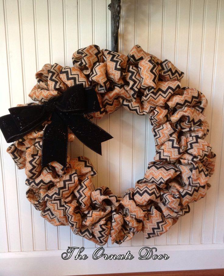 Fall burlap wreath, Thanksgiving burlap wreath, orange, black, burlap wreath, chevron stripe wreath, wreath with bow, orange wreath, burlap by TheOrnateDoor on Etsy