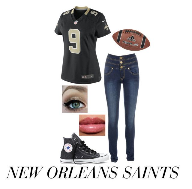 """""""New Orleans Saints!"""" by hazzastyles19 ❤ liked on Polyvore featuring Mode, AX Paris, NIKE, Converse und adidas"""
