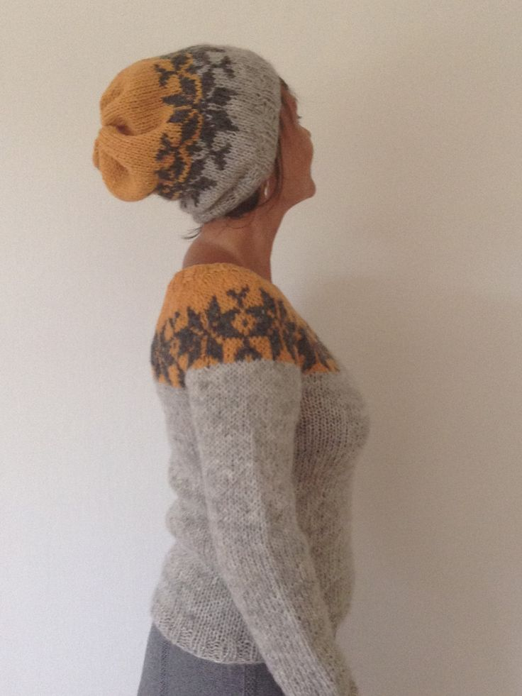 Sarah Lund handmade sweater and beanie (baggy) hat from The Killing - made from pure Icelandic wool. The hat is my new design and is made in the same colors as the Jumper. The yarn is lett-lopi and if you want other colors, just take a look at the colorboard and write your wishes.  Made to order in different colors and in Size: S - M - L - XL  Feets a chest girth of : 83 - 92 - 102 - 112 cm  Beanie (hat) size: one size