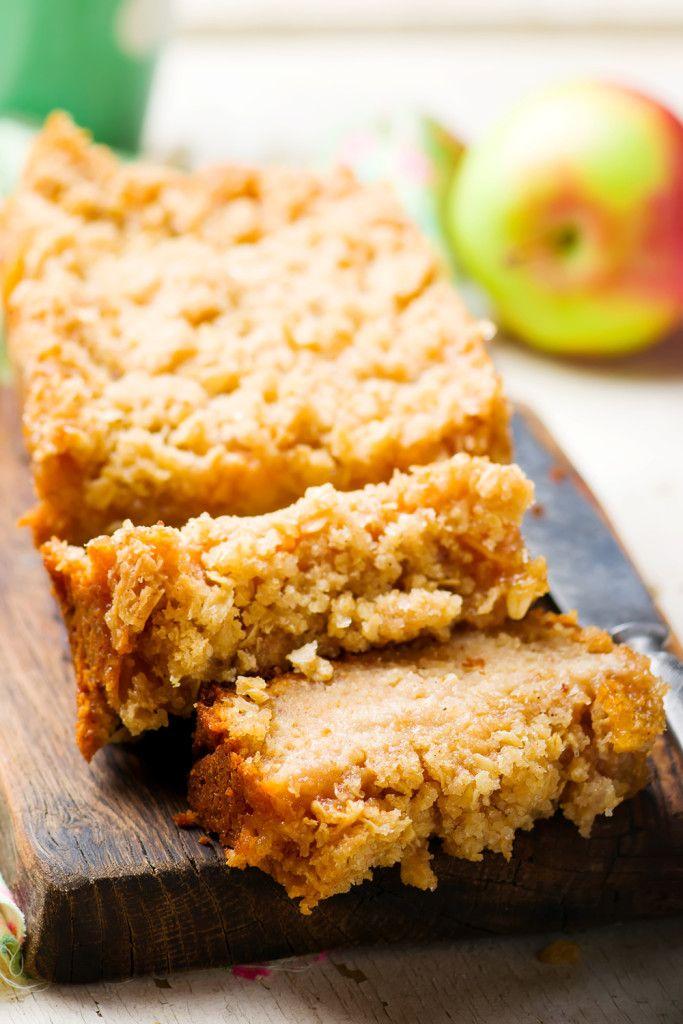 Oatmeal Apple Coffee Cake .selective focus