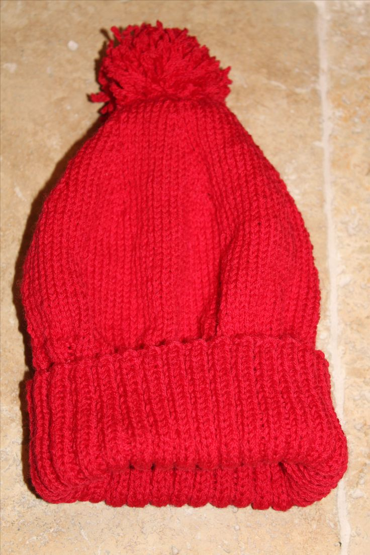 Hand knitted pure wool beanie