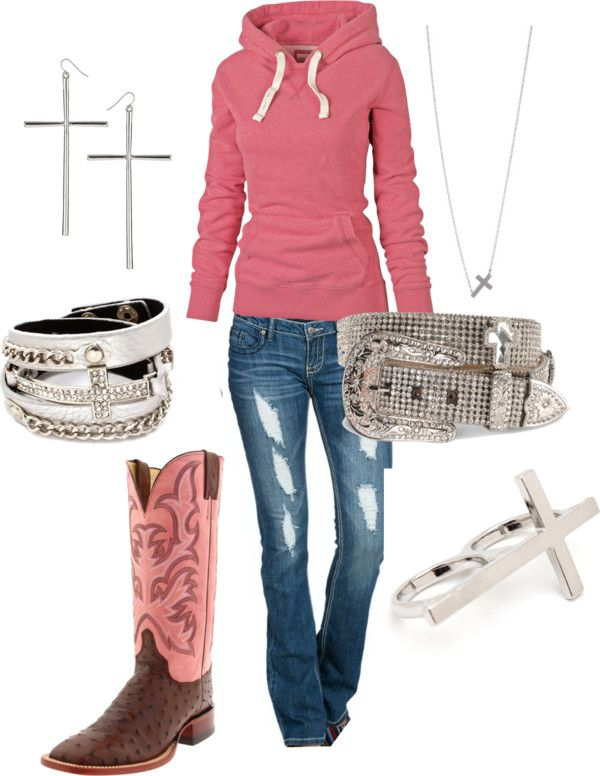 "Not ALL that jewlery, but this is cute :)  ""Cross Cowgirl"" by ashleyelliott-1 on Polyvore"