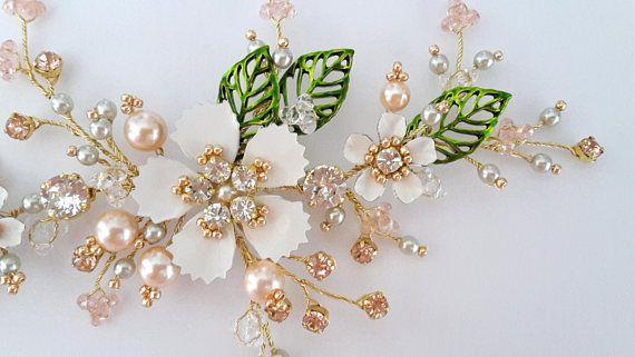 Leaf Bridal Headpiece Pink Flower bridal hair vine Peach