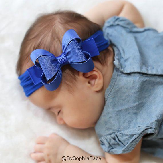 Diadema de gran lazo azul venda del bebé azul por BySophiaBaby