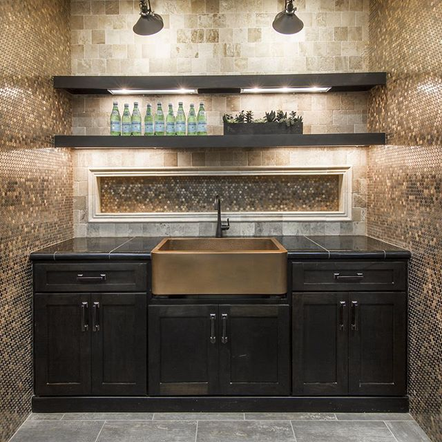 Copper penny rounds are a fun and glamorous option for a for Copper penny tile backsplash