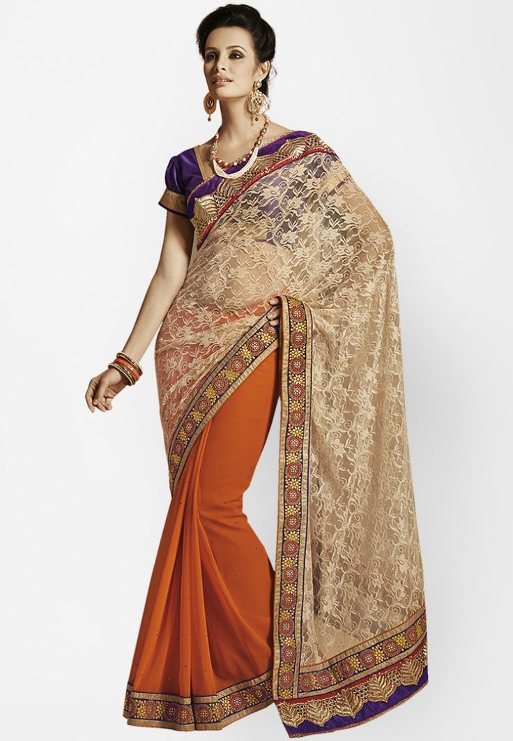 Brown Embellished Saree at $111.34 (24% OFF)