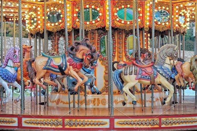 Carousel horses by Kynamuia on @creativemarket