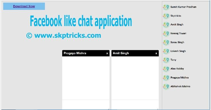 Today we are going to discuss how to createFacebook Style Chat Application with jQuery and CSS. In our Earlier post we have provided simple demo and explanation aboutFacebook Like Chat Slider Layout Design and Facebook Style Chat Box Popup Layout Design Using JQUERY and CSS. Hoping this example helps you similarly for creating chat application.  So Here we are integrating chat slider layout and chat popup box layout design in one HTML file. When user click on the username from the chat…