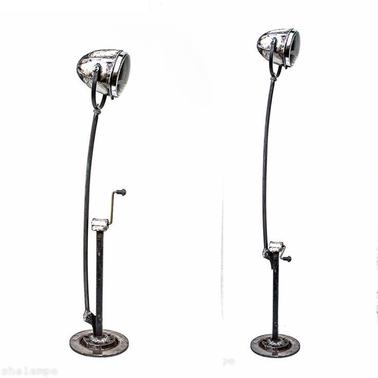 Car LIFTer Lamp  car lifter  iron pipe old car headlight glass metal sheet car break disk high 145-165cm #mishalampe #reuse #recycling #upcycling #handmade #craft #furniture #burningman #carparts #collection