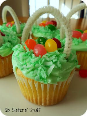 Easter Cupcakes, an old favorite.. Dyed coconut, jelly beans and pipe cleaners to make easter baskets !!