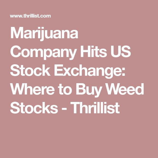 Marijuana Company Hits US Stock Exchange: Where to Buy Weed Stocks - Thrillist