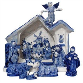 Delfts blauwe kerststal