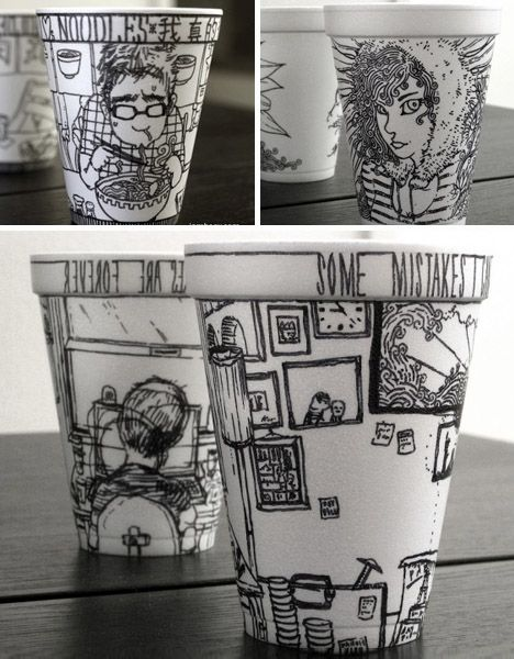 creative cup folk art. ...but Iamboey has taken his simple concept and crafted works now available for sale online – or to view on his likewise minimalist black-on-white website.  Read more: http://dornob.com/15-hot-cups-of-art-magic-markers-on-coffee-cup-canvas/#ixzz2hv42rHom