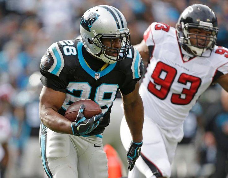 Falcons Panthers Football Jonathan Stewart, Dwight Freeney