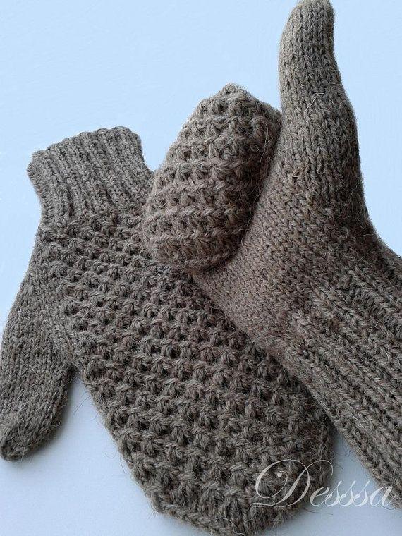 Men's Knitted Mittens Camel Wool Brown Men's Winter от Dessssa