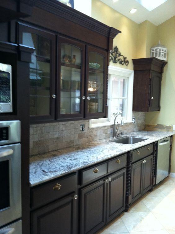 Espresso Painted Kitchen Cabinets in 2020   Galley kitchen ...