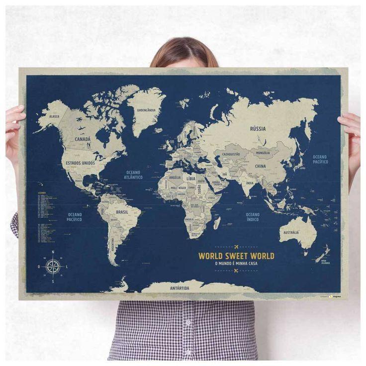 Mapa para marcar viagens Pster Mapa Mndi Azul