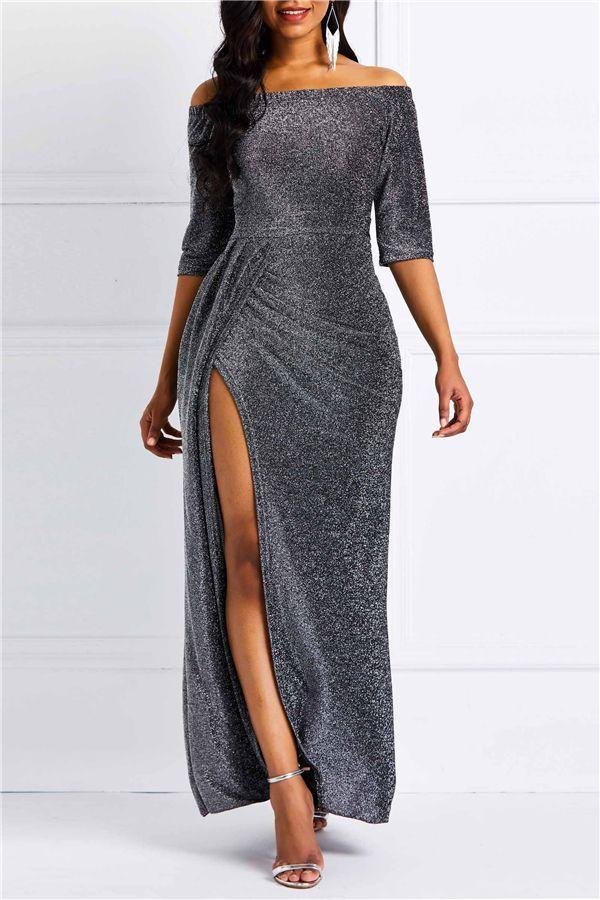 b8e54431456 Half Sleeve Floor-Length Plain Sexy Fall Women s Maxi Dress Half Sleeves