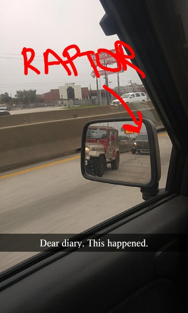 Would you believe I saw a Raptor chase down a Jurassic Park Jeep!