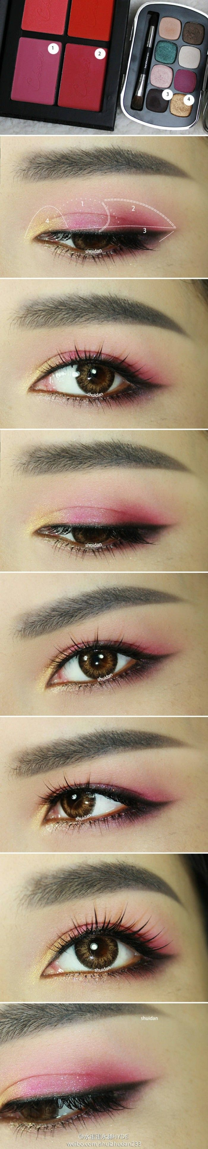 Red/pinkish eyeshadows are all the rage right now in Asian countries, I don't really think American brands on the mid to low-end have really caught up. Use pigmented blushers if you don't have eyeshadows in these colors!