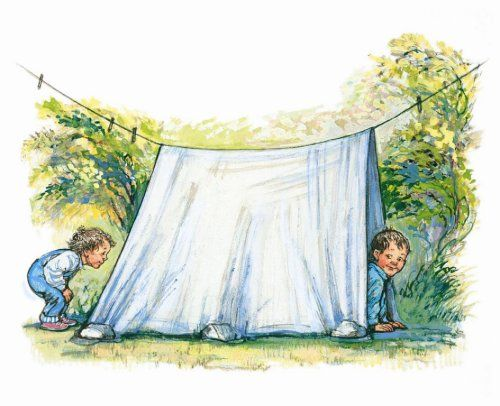 Camping in the back garden. A lovely illustration of children playing, by the author/illustrator Shirley Hughes