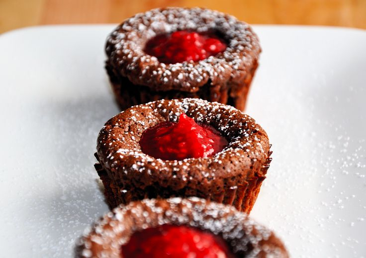 Chocolate Lava Cakes with Raspberry Sauce from justataste.com
