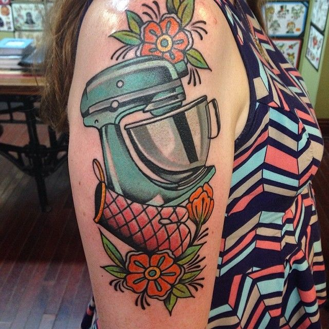 beautiful mixer tattoo by #traderbobstattoos