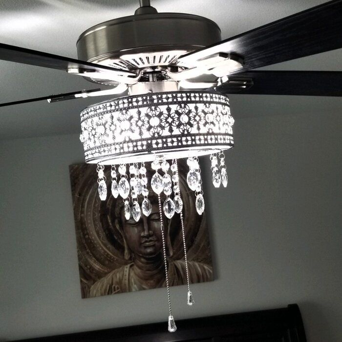 House Of Hampton 52 Noyes Crystal 5 Blade Ceiling Fan With Remote Light Kit Included R Ceiling Fan With Remote Ceiling Fan Light Kit Ceiling Fan With Light Ceiling fan with chandelier light kit