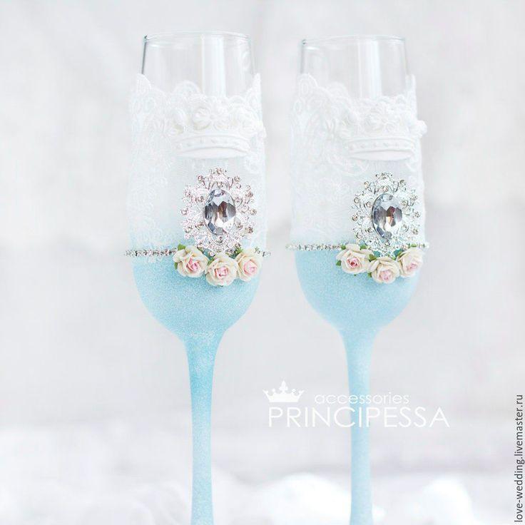 """Купить """"Голубая безмятежность"""" свадебные бокалы - голубой, аксессуары, Аксессуары handmade, аксессуары для фотосессий"""
