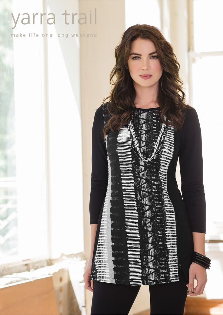 Modern and sophisticated, the Graffiti Print Tunic is a must for day-to-night. Featuring a functional zipper at hemline and contrast long sleeves and back body in plain black. Co-ordinates well with everything from tailored pants to weekend jeans and boots. http://www.yarratrail.com.au/tops