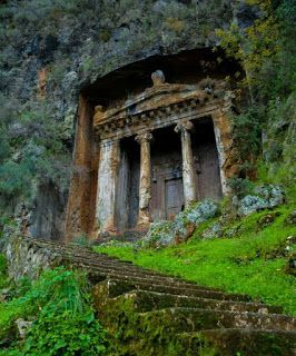 The distinctive Tomb of Amyntas in Fethiye, Turkey.