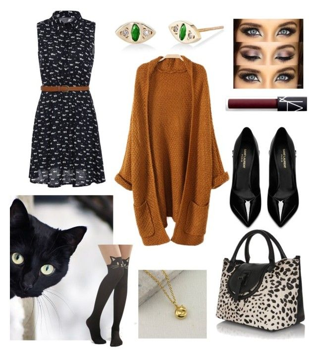 """cat"" by dilley818415 on Polyvore featuring Yves Saint Laurent, Leg Avenue, NARS Cosmetics and Scosha"