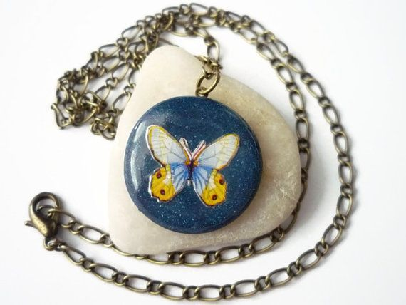 Blue butterfly necklace, polymer clay necklace, blue glittering pendant antique bronz, by treasurecreator, $15.00