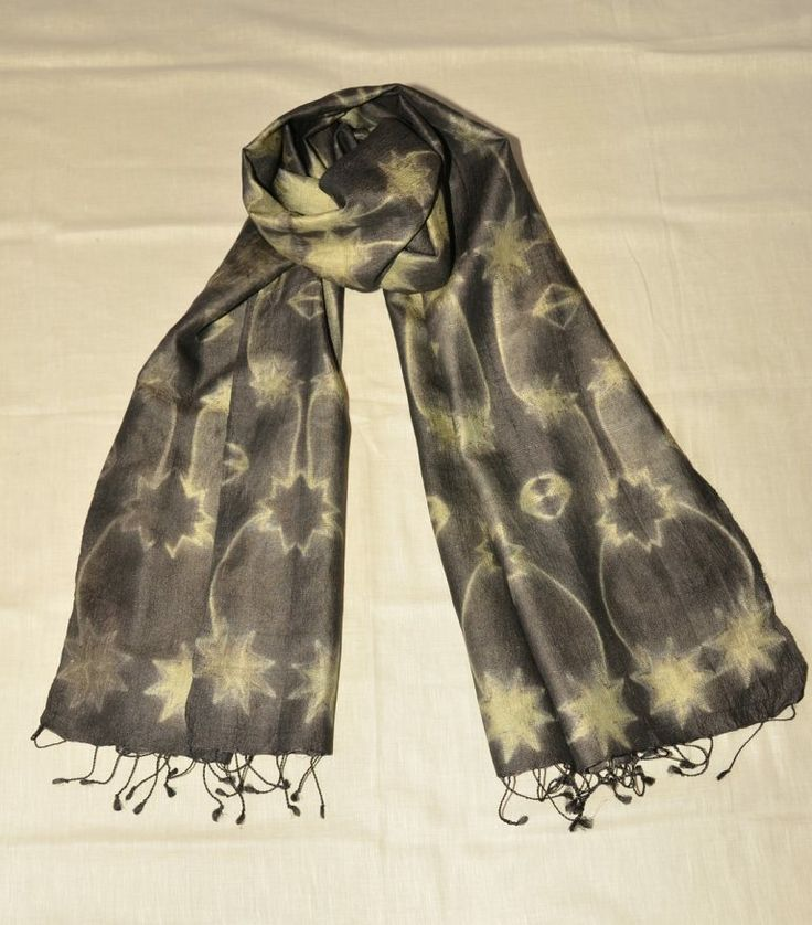 katano flowers tussar silk- starry night