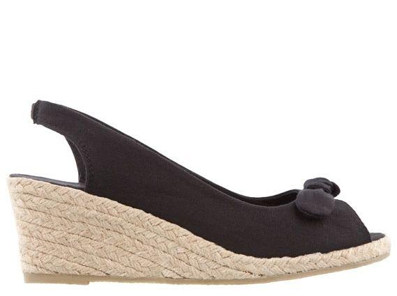 Black Wedges Sandals With Bow- www.ilovetunics.com