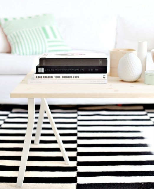 love this table made with an untreated wooden board and IKEA legs #DIY #IKEA #coffeetable