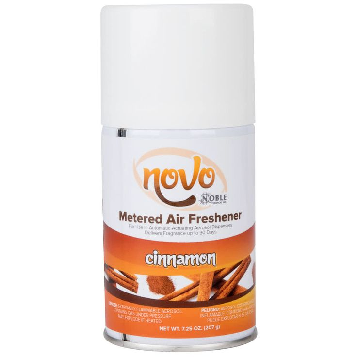 Easily keep your restrooms smelling fresh and clean all day, every day with this Noble Chemical Novo 7.25 oz. cinnamon metered air freshener refill! Compatible with many actuating aerosol dispensers, this air freshener gives you the same great, long-lasting quality as other brands, but at an unbeatable price. It features an unmistakable cinnamon fragrance that's reminiscent of cider, apple pie, as well as other joys of the Fall season and is guaranteed to freshen up your bathroom without ...