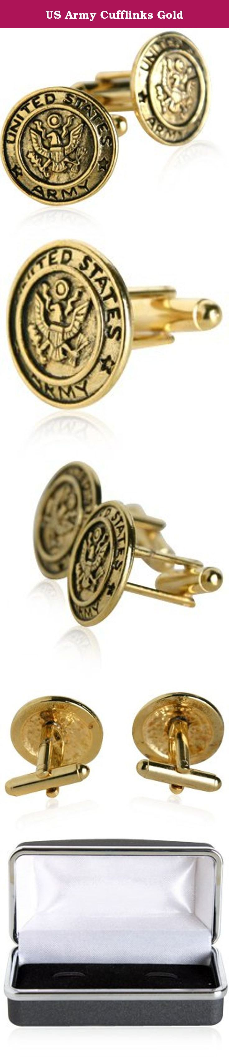 "US Army Cufflinks Gold. Order these US Army Cufflinks Gold while supplies last. They are a very popular item! - measures at only 3/4"" in diameter - hand-made and high quality - comes with a lifetime warranty - includes a handsome box to store in when not being used."