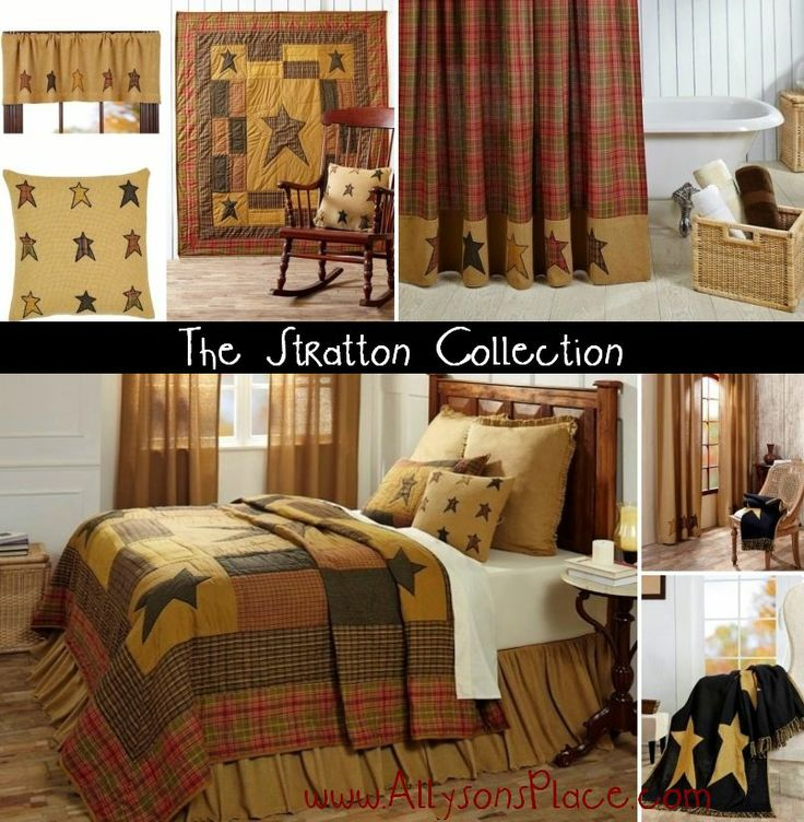 The Stratton Collection / Like us on Facebook!  www.facebook.com/allysonsplacedecor / #PrimitiveHomeDecor #Primitive #PrimitiveStar #Country Primitive Stars Bedding