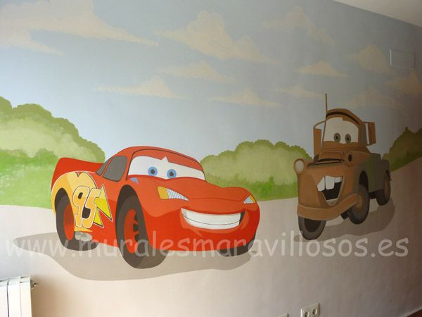 Murales infantiles de Cars pintados en toda España. Sobre paredes lisas o en gotelé. Muchas ideas y fotos en www.muralesmaravillosos.es