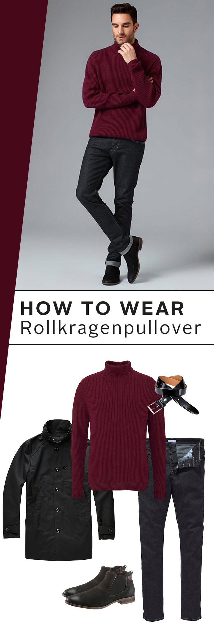 Kaum sinken die Temperaturen, steigt die Lust auf einen echten Klassiker: den Rollkragenpullover! Stardesigner Guido Maria Kretschmer kombiniert ihn in der Farbe Burgund mit einer schwarzen Jeans, Boots und Kurzmantel – für einen herbstlich-eleganten Auftritt!