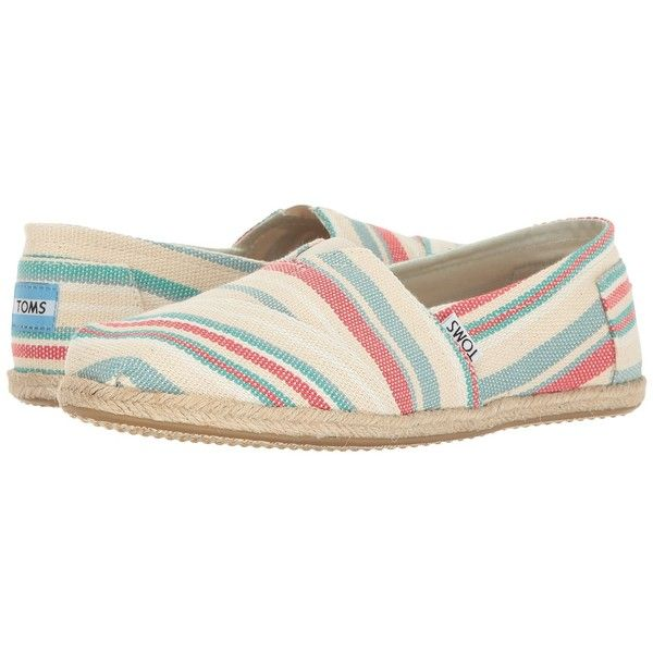 TOMS Seasonal Classics (Pale Pink Woven Stripe Rope Sole) Women's Slip... ($53) ❤ liked on Polyvore featuring shoes, woven slip on shoes, pale pink shoes, woven shoes, glitter shoes and slip-on shoes