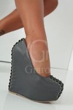LADIES GIARO SIZE UK 10 EU 44 GREY HIGH WEDGE PLATFORM HEEL SHOES
