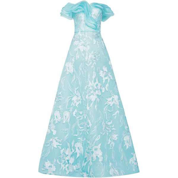 Mark Bumgarner Barbara Gown (105.370.235 IDR) ❤ liked on Polyvore featuring dresses, gowns, blue, blue ball gown, off the shoulder dress, off shoulder gowns, ruffle dress and blue ruffle dress
