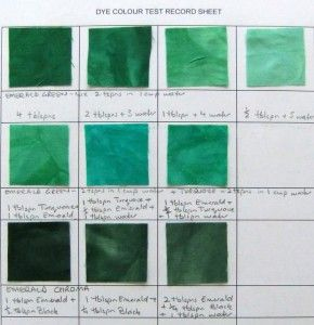 Dye colour test, Procion MX Emerald - Deborah Wirsu