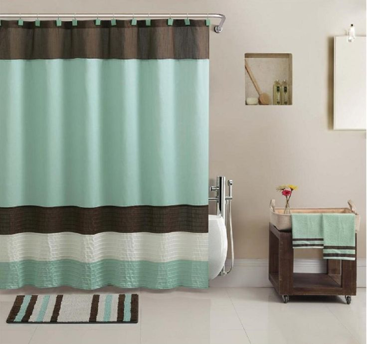17 PC Bathroom Accessory Set W Towels Shower Curtain Rug More