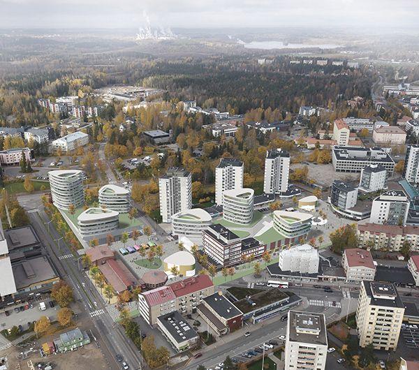 """Kouvolan keskustakorttelit ideakilpailu Mika Saarikankaan ja Mikko Siltasen ehdotus """"Green Spots"""" sai kunniamaininnan"""