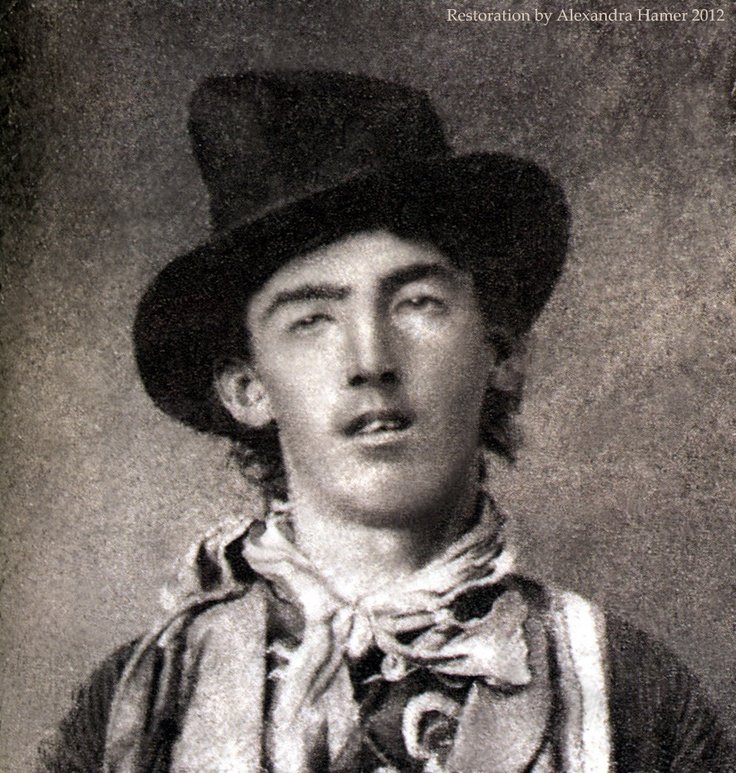 The only known picture of Billy the Kid. It has been cleaned up and we get to see his face clearly for the first time...all reports I have ever read said he was good looking...I don't see it...