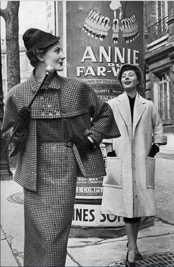 1950 Model on left in black and yellow houndstooth dress and jacket by Jeanne Lanvin, Bettina is wearing a 78 ecru shantung coat over black dress by Christian Dior